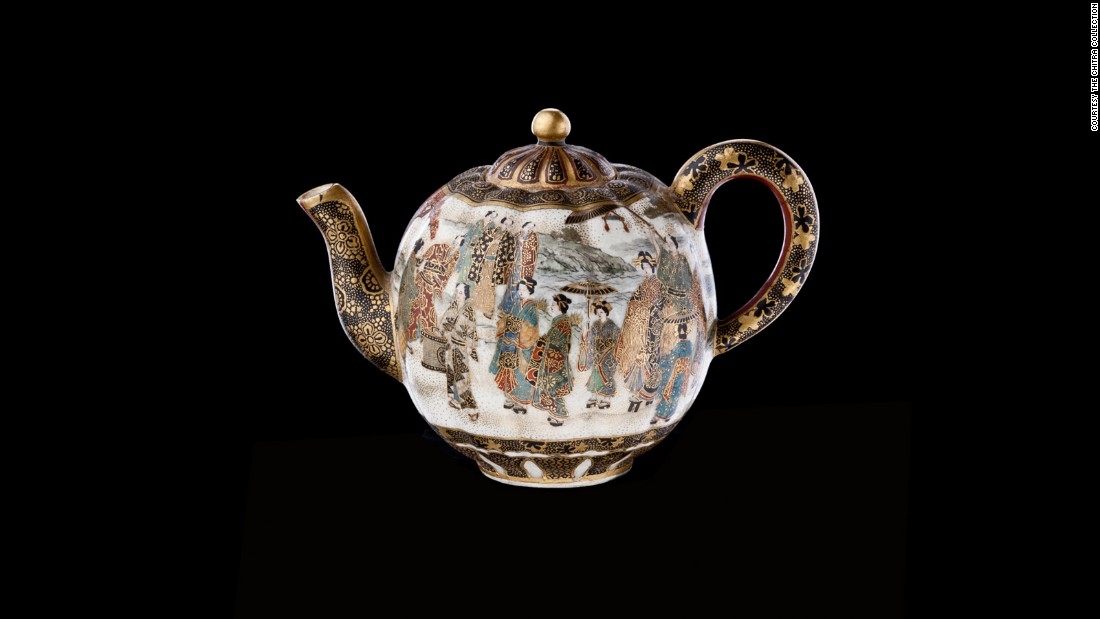 During the mid to late 1800s, buyers in the West were obsessed with the idea of Japanese style and art. This teapot was especially painted with scenes of Japanese life to appeal to this obsession.