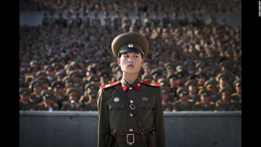 A soldier stands during a parade marking the 70th anniversary of the country's ruling party.
