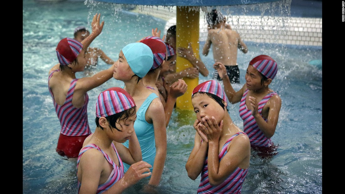Schoolchildren spend time at the Songdowon International Children's Camp aquatic center. The camp originally opened in the 1960s and was intended to deepen relations with other communist and nonaligned countries.