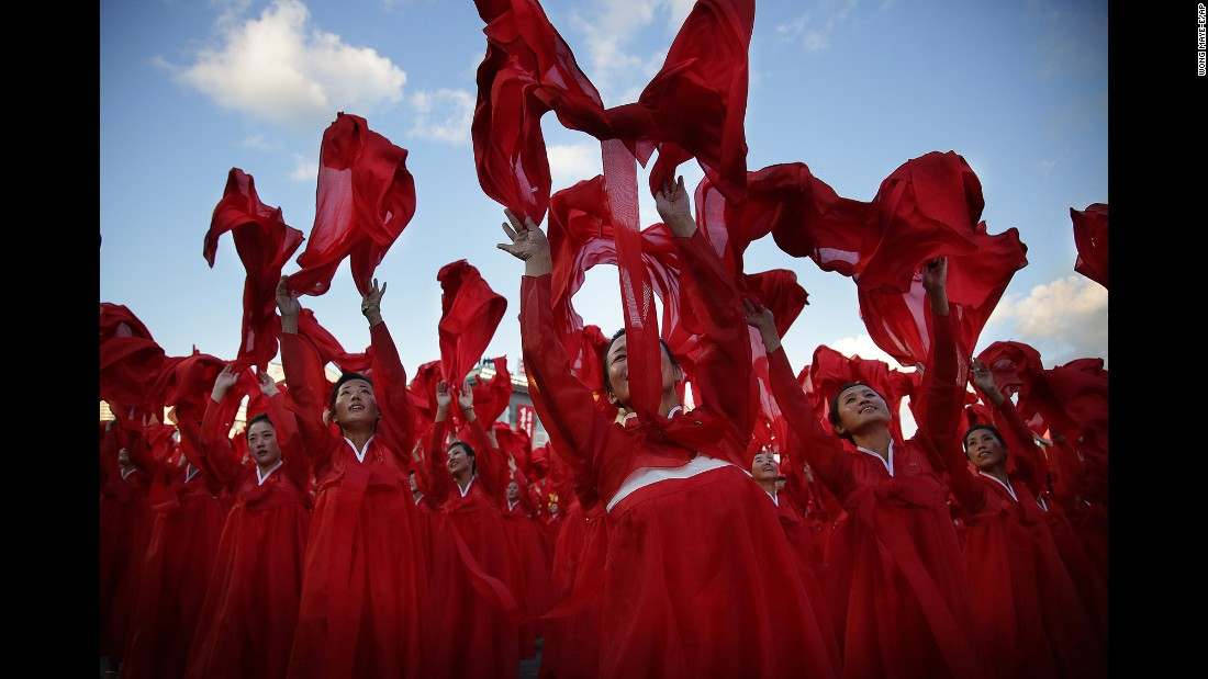 Dancers perform at Kim Il Sung Square during a parade marking the 70th anniversary of the country's ruling party.