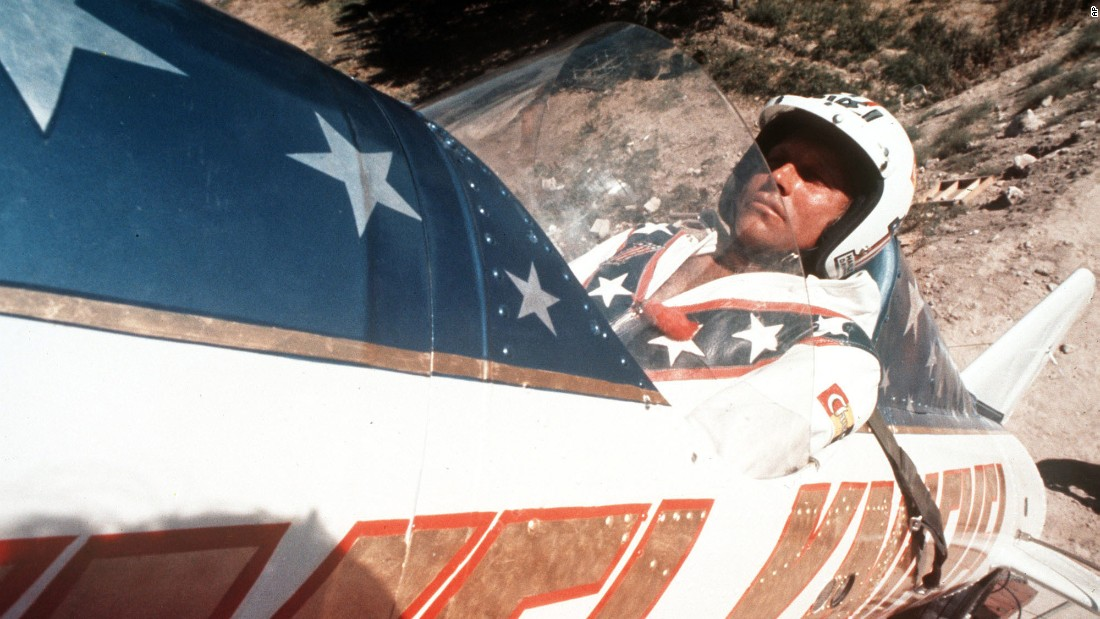 """Evel Knievel sits in his steam-powered """"rocket cycle"""" before his September 8, 1974, attempt to jump the Snake River Canyon near Twin Falls, Idaho. (Note his lucky rabbit's foot.) Forty-two years later, Hollywood stuntman Eddie Braun plans to try the same jump, in a replica of Knievel's aircraft, to honor his daredevil hero."""