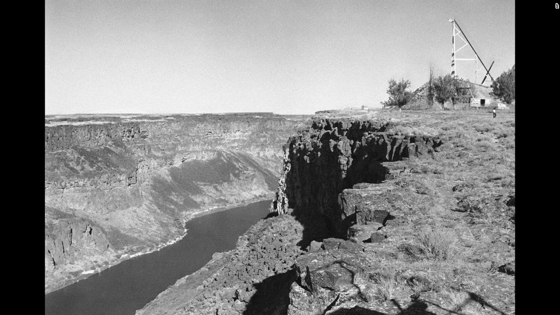 At right is the ramp Knievel built to jump the Snake River. Braun has erected his own 10-story ramp on private property several miles upriver and is scheduled to attempt his jump on Saturday, September 17.