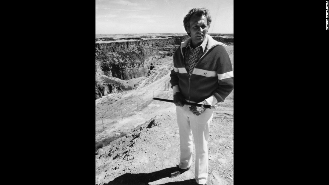 Knievel surveys the canyon, which is about a quarter-mile wide and up to 500 feet deep in places. He had initially hoped to jump the Grand Canyon, but the federal government wouldn't give him a permit.