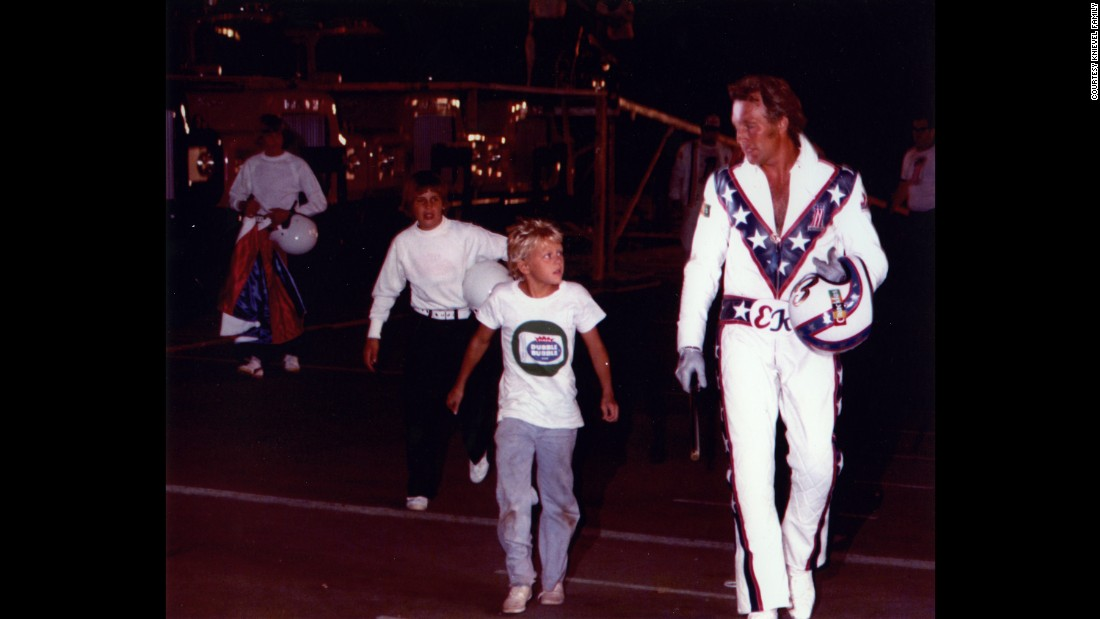 Knievel, in his trademark star-spangled jumpsuit, at an August 1974 event in Toronto, Ontario -- his last jump before the Snake River Canyon stunt. By 1974 Knievel was a household name who could sell out large arenas for his ramp-to-ramp jumps over cars and trucks.