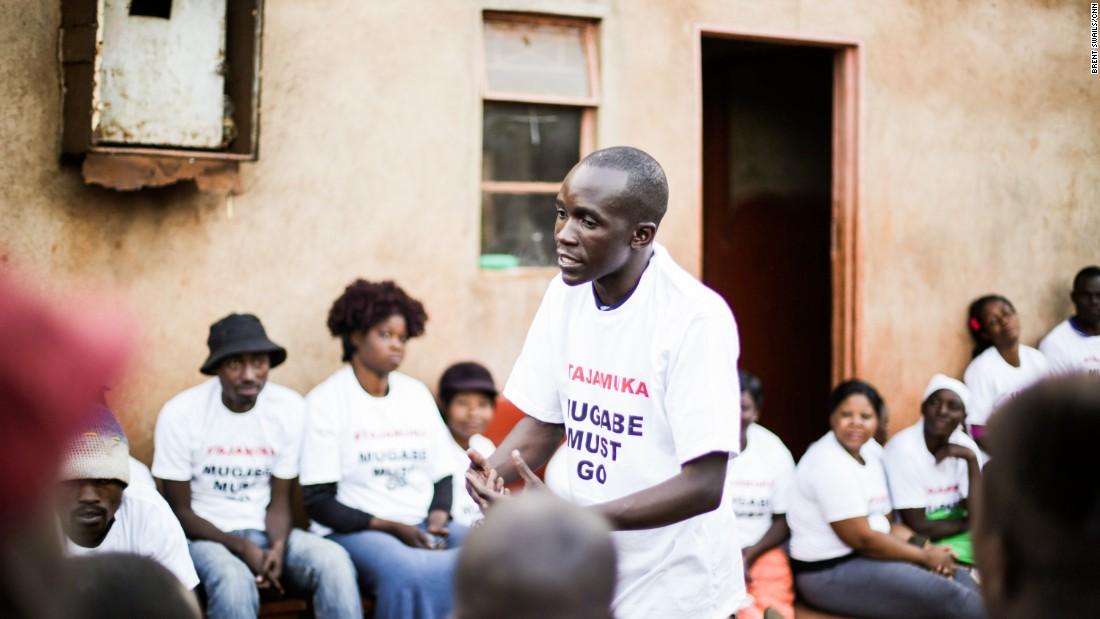 """""""We're not afraid of what will come,"""" says anti-Mugabe activist Hardlife Mzingu."""