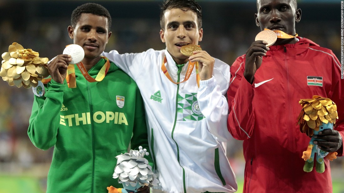 "Gold medalist Abdellatif Baka of Algeria broke the world record in the men's 1,500m T-13. He alongside,Tamiru Demisse, Henry Kirwa, and his brother Fouad ran so fast <a href=""http://www.cnn.com/2016/09/13/sport/baka-paralympics-t13-athletics/index.html"">they would have won gold medals at the Olympic games</a>."