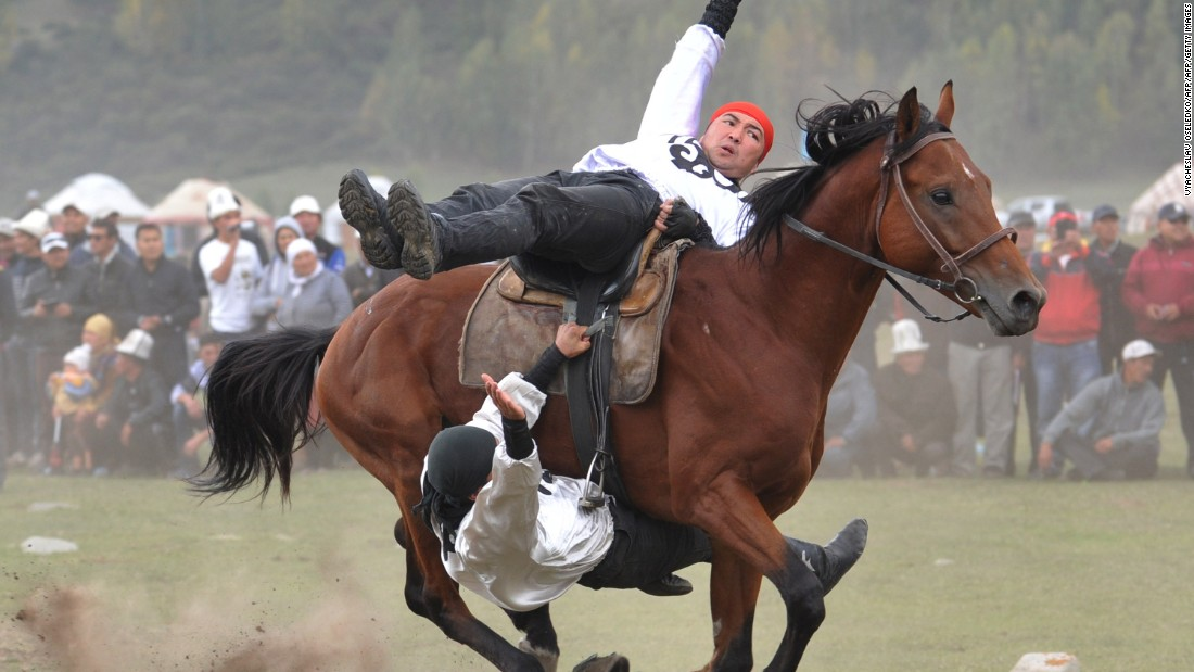 "Riders entertained the crowd at the host village near<a href=""http://worldnomadgames.com/en/places/Kyrchyn-Gorge/"" target=""_blank""> Kyrchyn Gorge</a>."