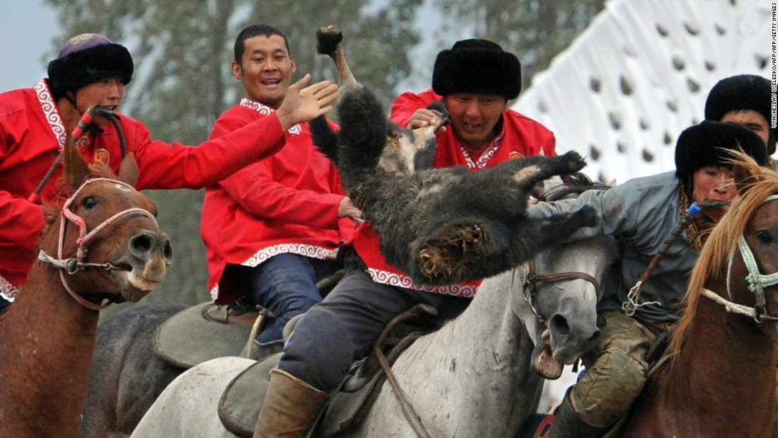 Kok-Boru is a traditional sport where each team has to try to throw a decapitated goat into the opposition's goal to win a point. Games consist of three 20-minute periods.