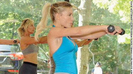 EAST HAMPTON, NY - AUGUST 12:  Tracy Anderson leads a workout at the Buick celebration of the new Envision in the Hamptons at Buick Studio Envision on August 12, 2016 in East Hampton, New York.  (Photo by Matthew Eisman/Getty Images for Buick)