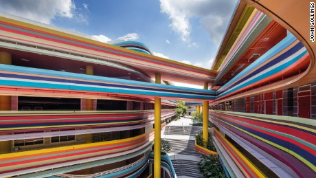 Colorful curves are an eye-catching feature of Nanyang Primary School, Singapore