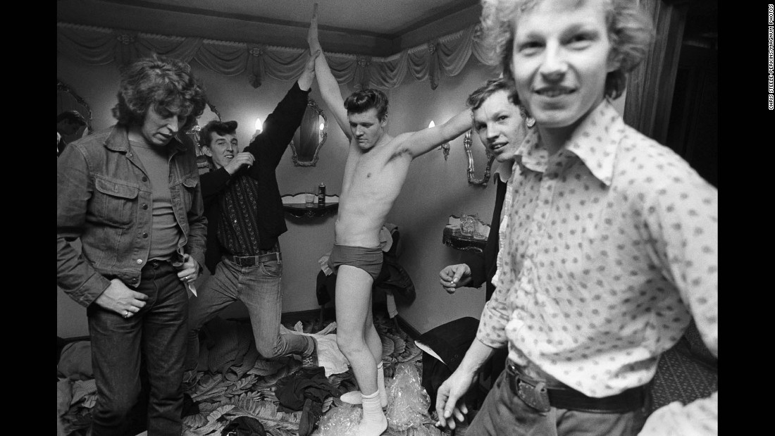 Pete Presley, who played with the group Shazam, is seen in a dressing room.