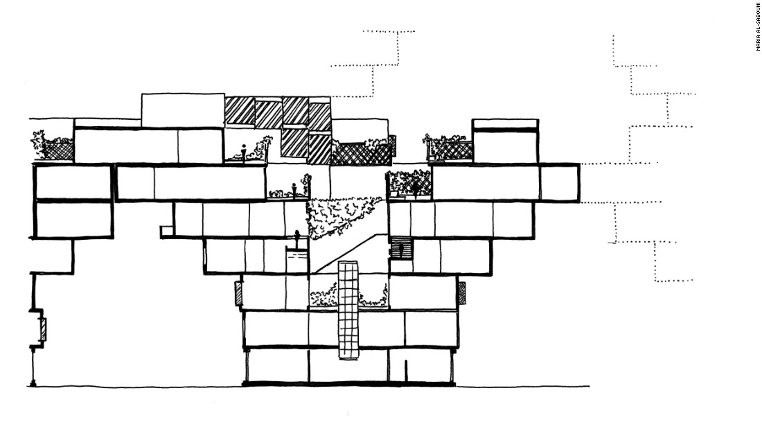 Cross-section of a Tree unit. <br /><br />(A Tree unit is part of modular network of layered apartments proposed by Sabouni. They can spread both vertically and horizontally.)