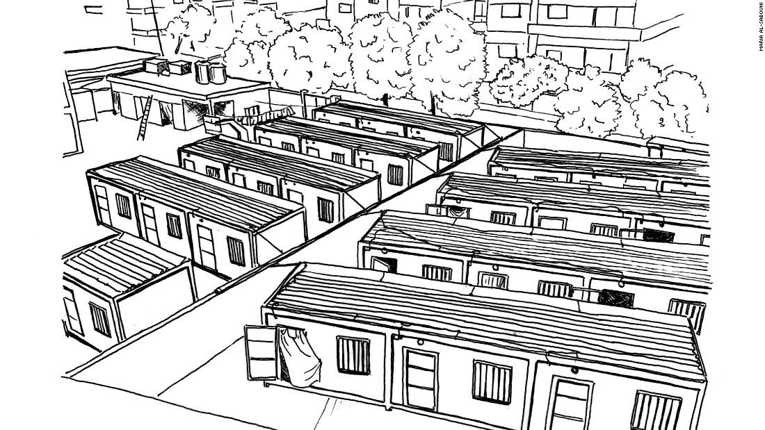 Prefabricated caravans on the playground of an evacuated school