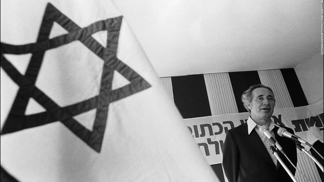 Shimon Peres speaking in the Druze village of Daliyat al-Karmel in Israel on May 10, 1977.