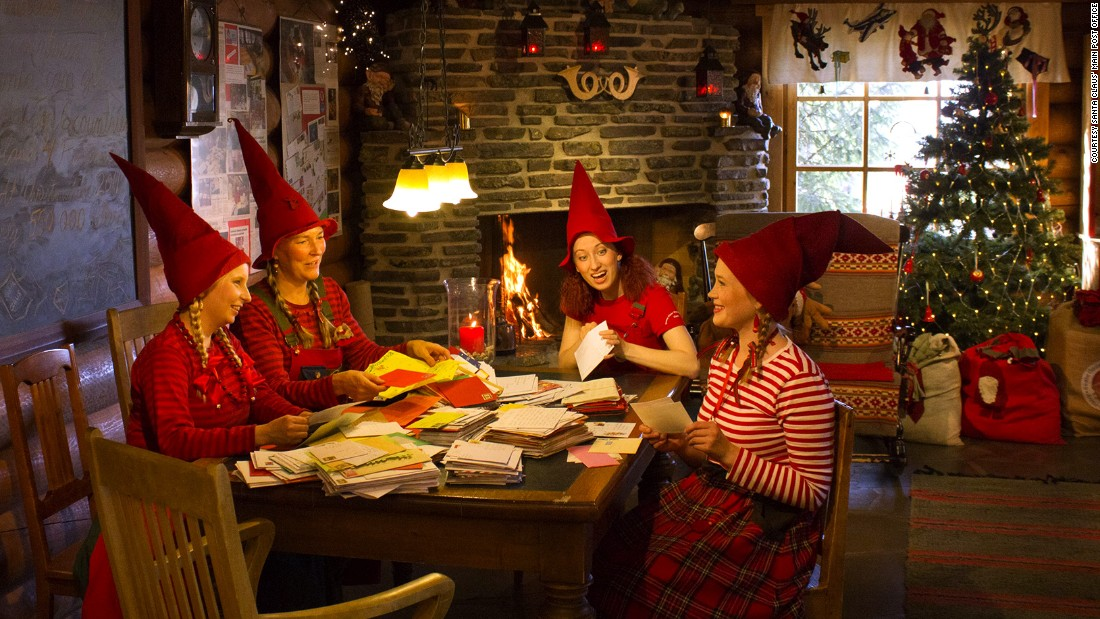 In addition to selling special stamps and souvenirs, they -- and potentially you -- wear elf clothes and Christmas hats and sort letters for Santa next to a cozy fireplace.