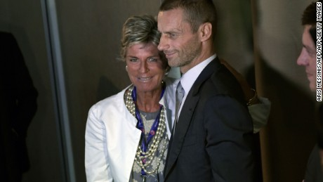 Ceferin poses with Evelina Christillin, elected as UEFA female member on the FIFA Council.