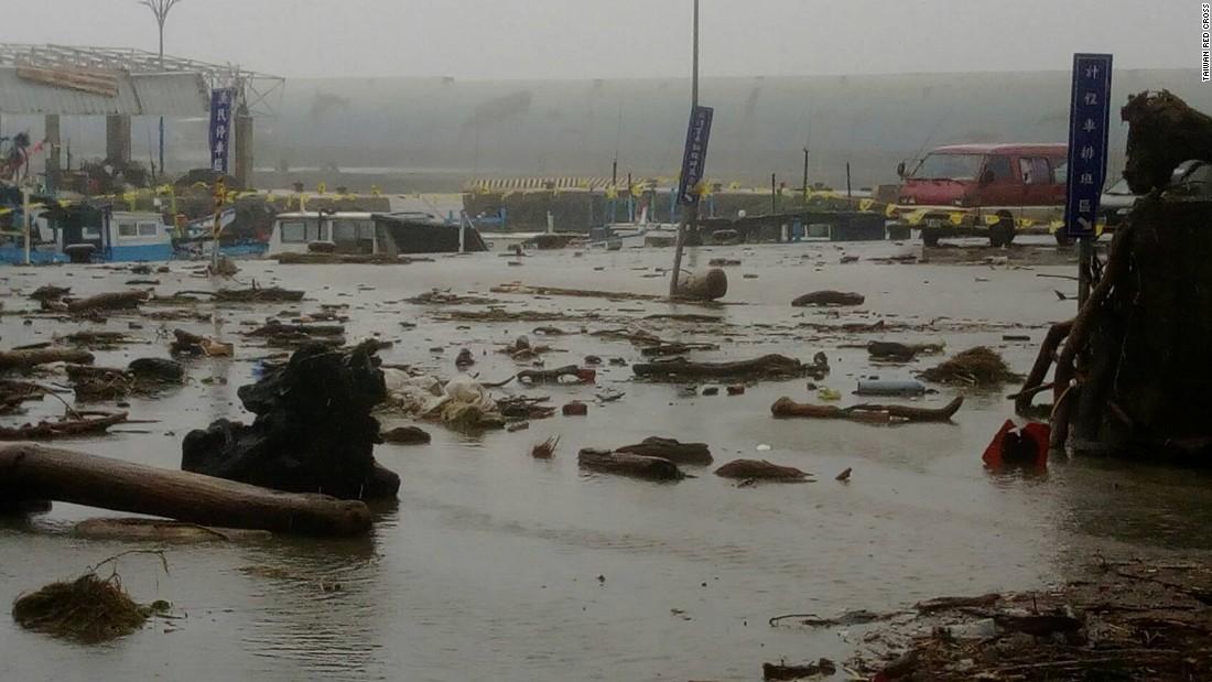Storm damage seen in Fugang, southern Taiwan.