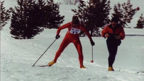 Janine Shepherd cross-country skiing.