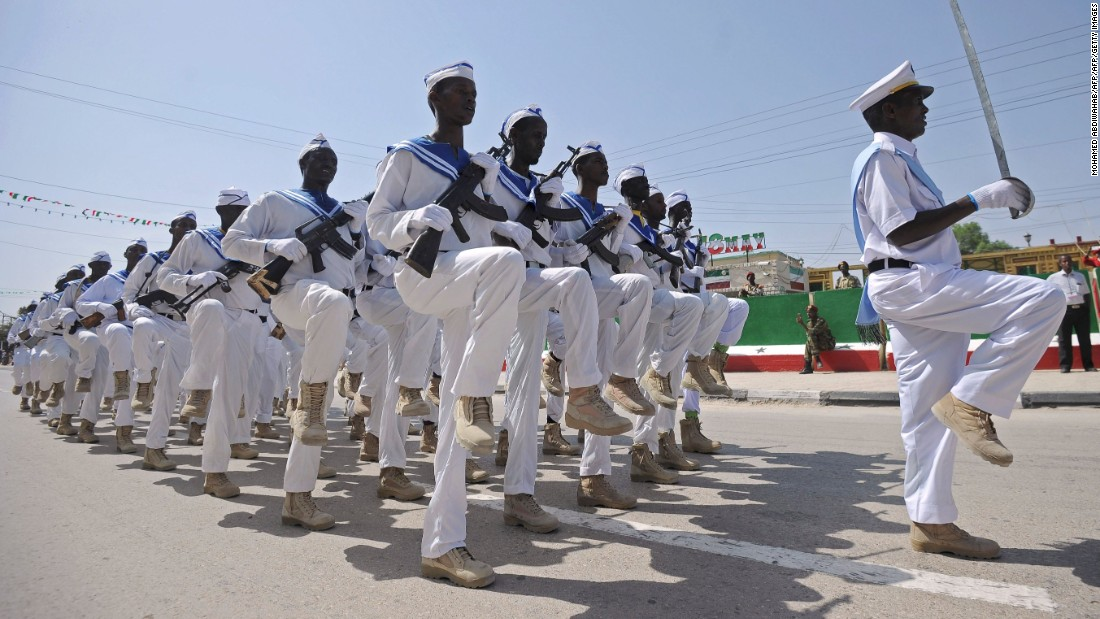 Somaliland military personnel march on independence day. The region spends heavily on its army and navy but is operating under a UN arms embargo.