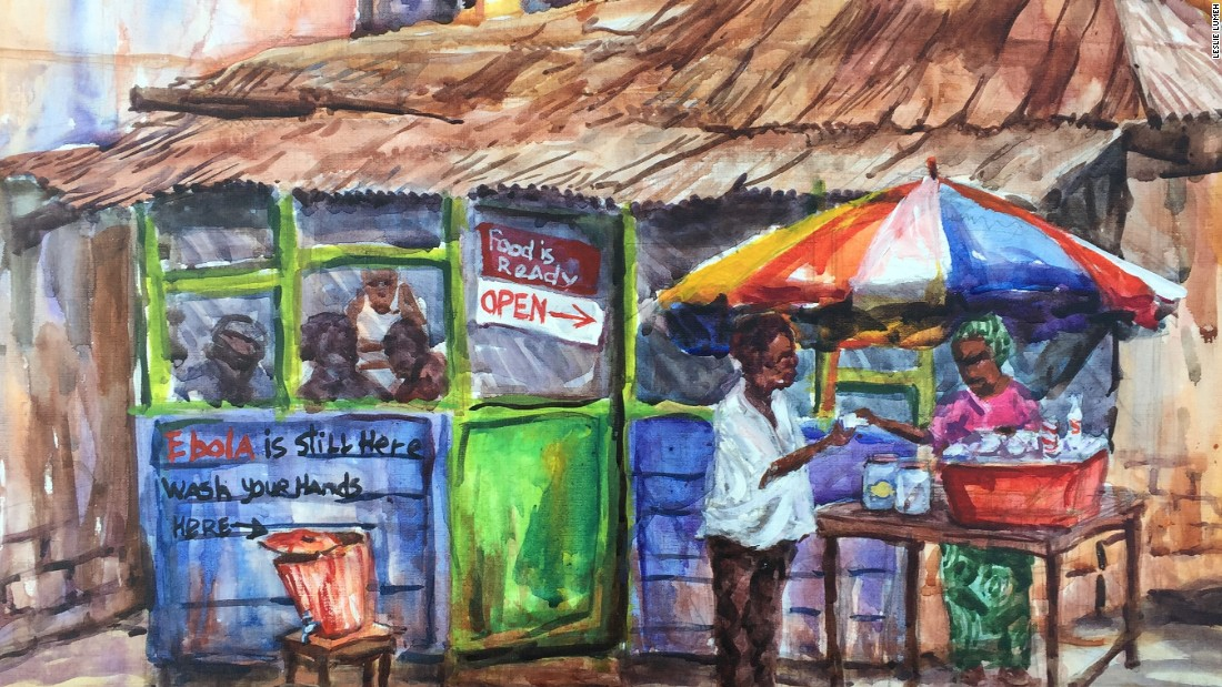 "'Keeping The Message Alive' by Leslie Lumeh. The scene fascinated Lumeh when he witnessed it. ""As you see, it says 'food is ready' and the restaurant is open"" explains Lumeh."" But she still has the Ebola bucket there."" He adds, ""This lady is still trying to be very cautious despite Liberia having been declared Ebola free by WHO."""
