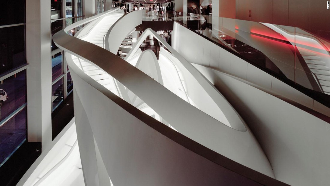 The structure was created by Doriana and Massimiliano Fuksas with rolled calendar steel and covered with a plastic layer.