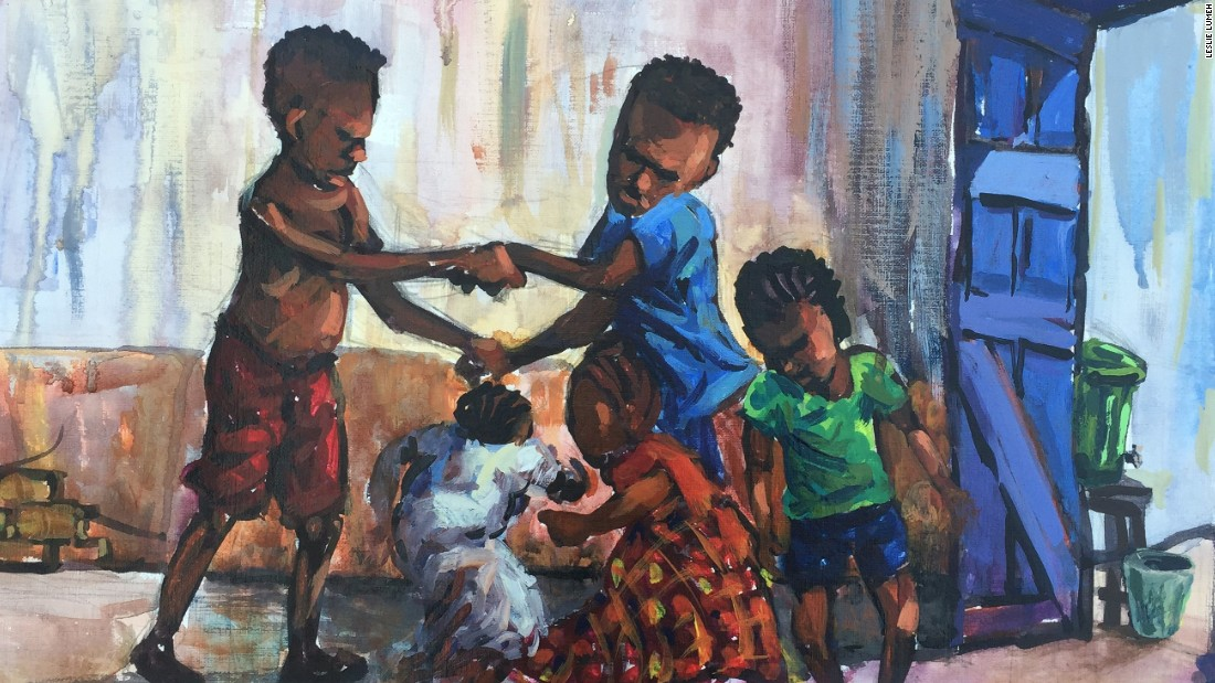 "'Playing Is Here Again' by Leslie Lumeh. When the Ebola crisis hit Liberia two years ago, the artist was among those called upon by Unicef to develop posters on how the public could protect themselves."" He continues to document how the country is coping after the Ebola outbreak. ""I did not put too much attention to the devastation that was caused by the virus,"" he explains of his paintings. ""What I did was the aftermath of the virus, what and where Liberia is heading now."""