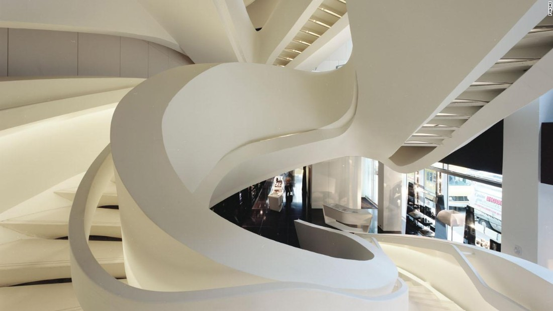 The Armani store on New York's Fifth Avenue is home to a futuristic ribbon-like staircase.