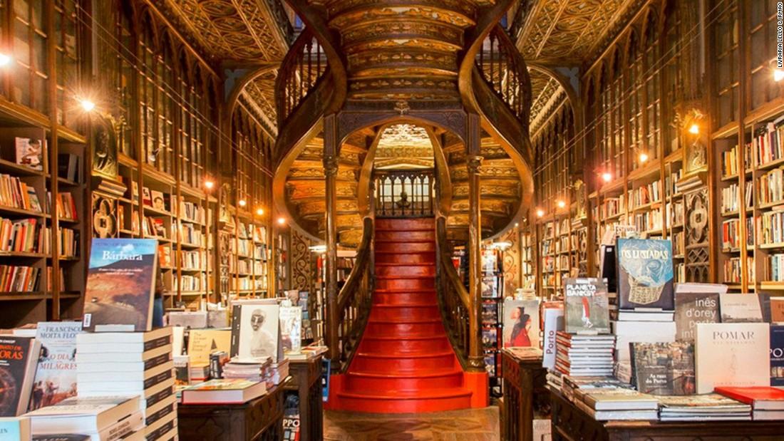 Inside Portuguese bookstore Livraria Lello & Irmão is this set of elaborate art noveau stairs.