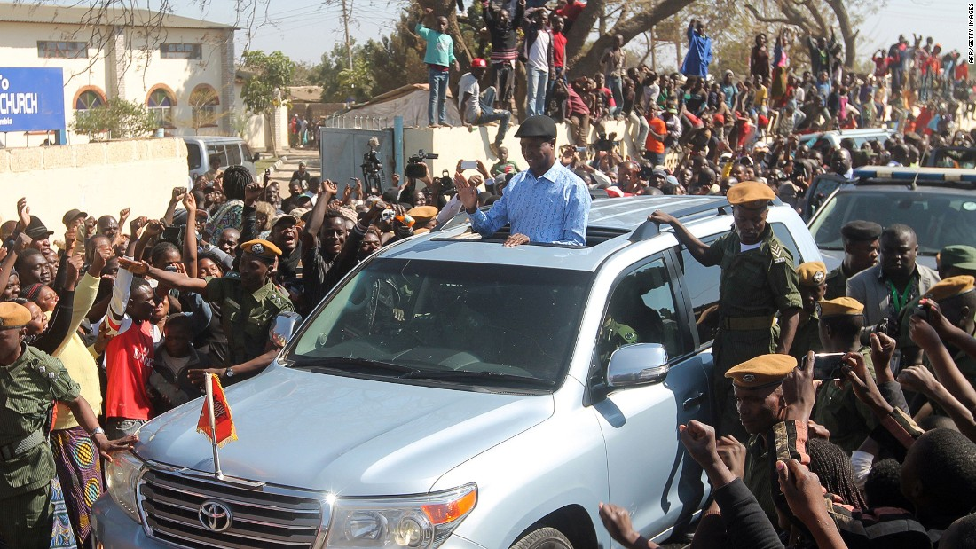 """The presidential candidate Edgar Lungu of Zambia's ruling party Patriotic Front waves to the crowd as he arrives to cast his ballot on the day of the election. <a href=""""http://af.reuters.com/article/topNews/idAFKCN11K0L5"""" target=""""_blank"""">He was sworn in</a> earlier this month for another five years."""