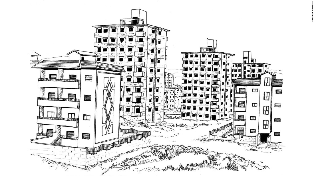 Remote, unfinished modern social housing tower blocks built by the government
