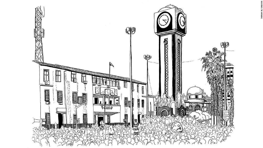"""Marwa al-Sabouni's new book, """"The Battle for Home: The Vision of a Young Architect in Syria,"""" looks at how Hom's structure led to its downfall, and how architecture can heal the city. Her illustrations Syria's buildings and public spaces. <br /><br />Seen here: The carnage of the New Clock demonstration"""
