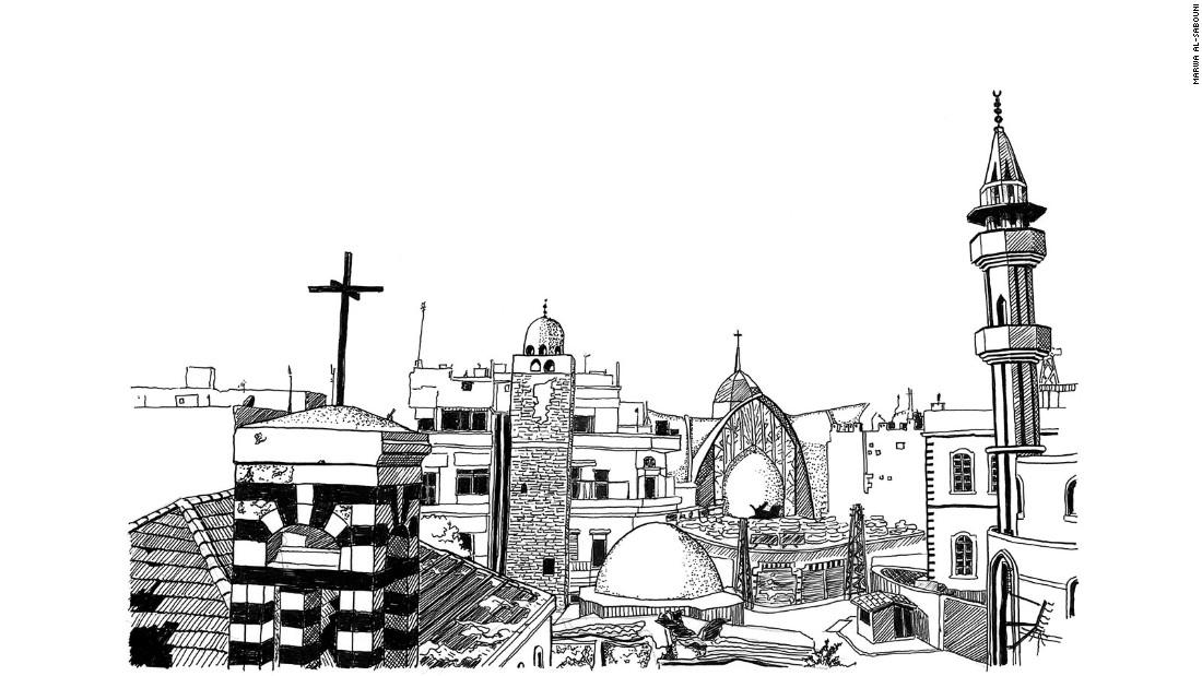 Betweeen two minarets in Old Homs