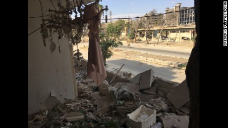 View from the balcony of Ahmad Yazji's damaged apartment