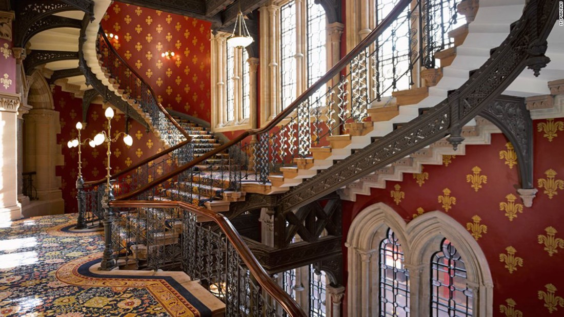 The St. Pancras Hotel in London features an extravagant gothic revival double stairway which curls up three storeys.