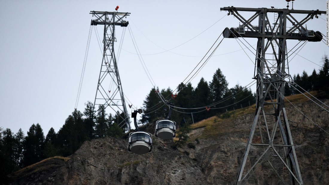 """Cable cars in Courmayeur, Italy, are restarted on Friday, September 9, after <a href=""""http://www.cnn.com/2016/09/08/europe/french-alps-rescue/"""" target=""""_blank"""">dozens of people were trapped</a> and later rescued from 12,000 feet when the cable cars became stuck overnight."""