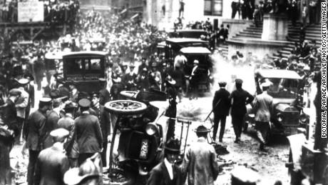 Scene of bombing of Wall Street on September 16, 1920.