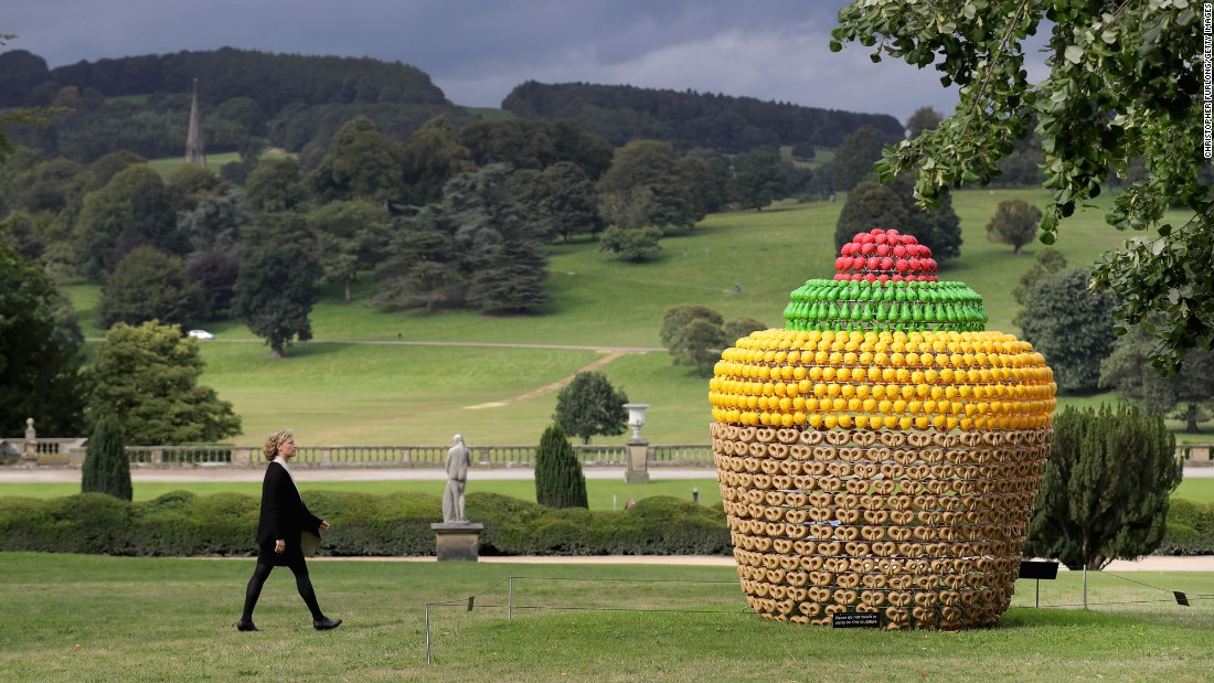 """""""Fruit Cake"""" by artist Joana Vasconcelos is displayed at the Sotheby's """"Beyond Limits"""" monumental outdoor sculpture exhibition in Derbyshire, England, on Friday, September 9."""
