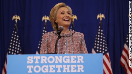 GREENSBORO, NC - SEPTEMBER 15:  Democratic presidential nominee former Secretary of State Hillary Clinton speaks to reporters during a press availability following a campaign rally at UNC Greensboro on September 15, 2016 in Greensboro, North Carolina. Hillary Clinton is beginning to campaign again after taking three days off the trail to recover from pneumonia. Clinton will campaign in North Carolina and Washington D.C.  (Photo by Justin Sullivan/Getty Images)