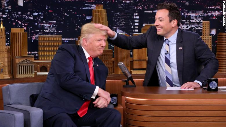 Jimmy Fallon messes up Donald Trump's hair