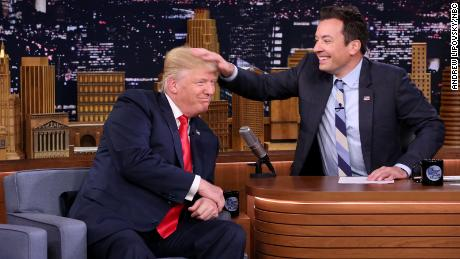 Republican presidential nominee Donald Trump plays along as Jimmy Fallon messes up his hair (after asking of course) when Trump made an appearance on The Tonight Show Starring Jimmy Fallon on Thursday, September 15, 2016.