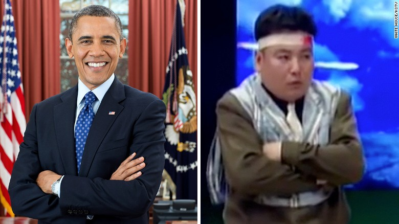 Left: A North Korean actor portrays the US president. Right: Barack Obama.