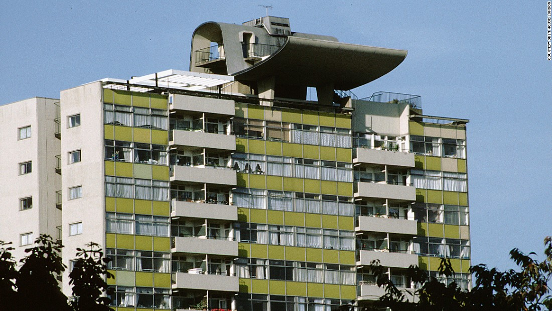 Completed in 1972, the concrete council estate contains the aerial walkways popular at the time.