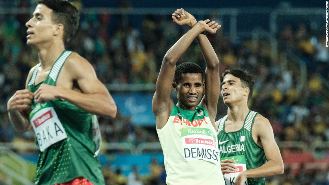 "Ethiopia's Tamiru Demisse won Silver in the Men's 1500m - T12/13 race and did the same arms above head, anti-government gesture which fellow athlete <a href=""http://www.cnn.com/2016/09/13/africa/ethiopia-runner-protest/index.html"">Feyisa Lilesa</a> made in solidarity with <a href=""http://www.cnn.com/2016/08/09/africa/ethiopia-oromo-protest/index.html"">Oromo</a> activists"