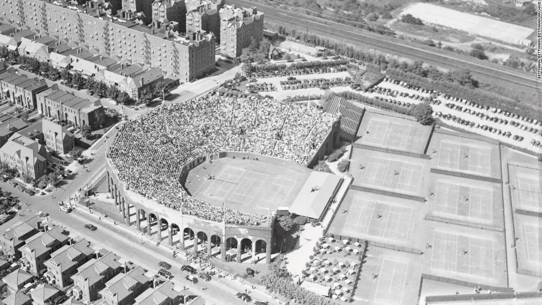 An aerial shot of the West Side Tennis Club in suburban New York, circa 1937. The venue was famous for its horseshoe-shaped stadium and the stretch of grass courts leading to the clubhouse.