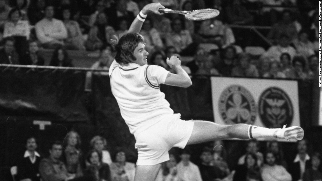 Connors displays his athleticism on court at the US Open. He won two titles at Forest Hills and another three at Flushing Meadows.