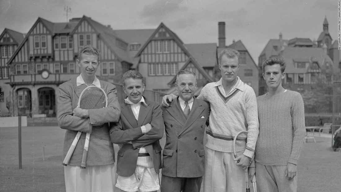 The 1937 US Davis Cup team in front of the iconic West Side clubhouse. From left to right: Don Budge, Bryan Grant, Walter L. Pate, Gene Mako, and Frank Parker.