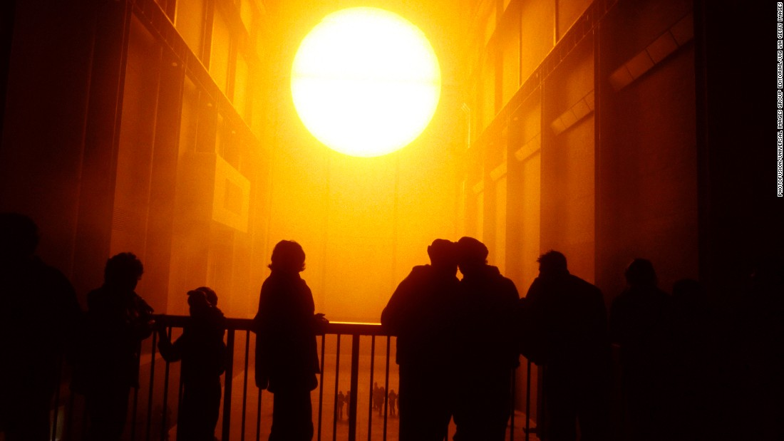 The Weather Project by Olafur Eliasson at Tate Modern art gallery, Bankside, London 2003.