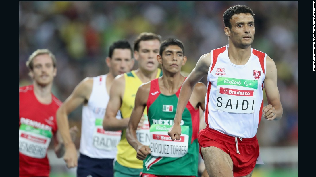 Abbes Saidi of Tunisia won gold in the men's 1,500 meter T38 final