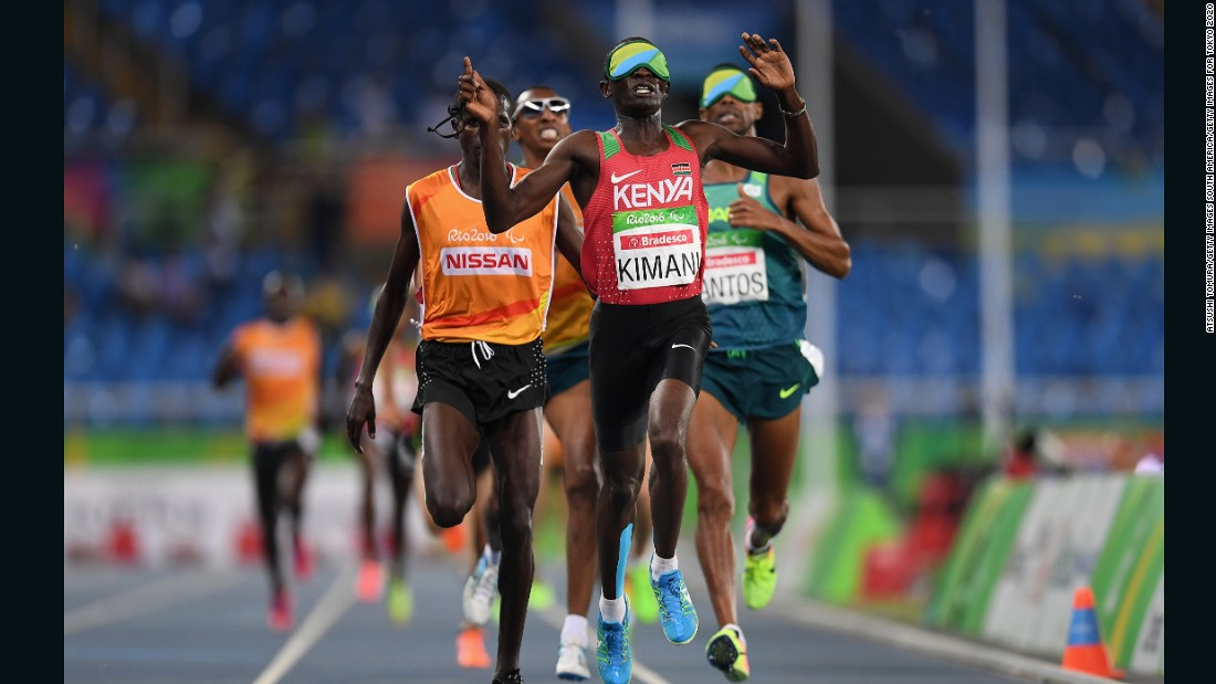 Samwel Mushai Kimani crosses the finish line to win gold medal for Kenya in the Men's 1500m - T11 Final. Samwel won two of Kenya's three gold medals.