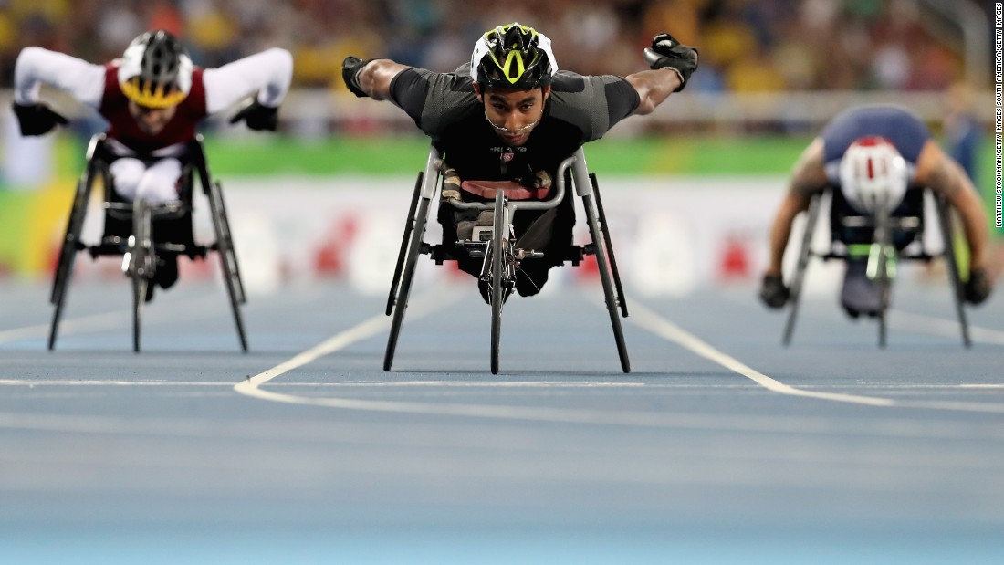Ktila Walid of Tunisia won both gold and silver in the men's 100 meter T34 and Men's 800m - T33/34 category respectively